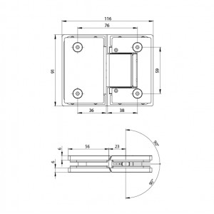 Bathroom Glass Shower Cubicle Premium Shower Hinge screws concealed PSH-803 - Glass to Glass (180°) | BINGO®