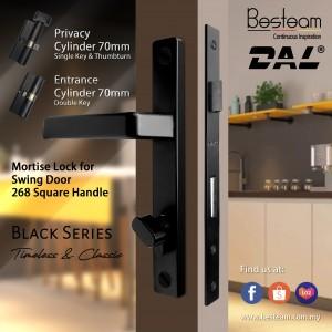 Swing Door Handle Mortise Lock Single/Double Key | DAL® 268 Square Design